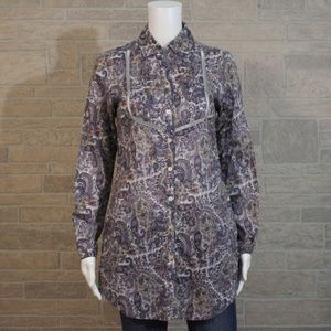Coldwater Creek Paisley Open Work Button Tunic Top